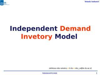 Independent Demand Inventory Model (2).ppt